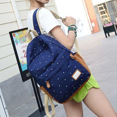 2016 nova casual lona mochila mulheres escola de moda bolsas para meninas dot impressão mochila sacos de ombro mochila