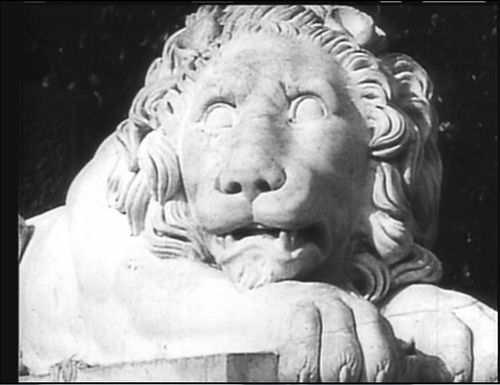 'The emotional meaning of the film—the narrative itself, really—is communicated through the juxtaposition of these images. During a stirring sequence, Eisenstein metaphorizes the Russian rebellion to the waking of a sleeping lion by juxtaposing images of three different lion statues: the first lion is sleeping, the second rousing itself, and the third has risen to full height.""