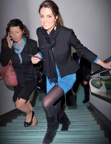 black scarf and blazer, with blue under