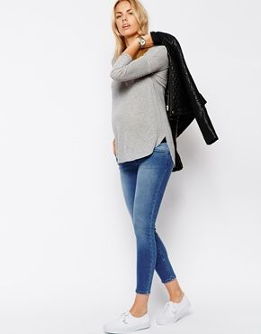 Enlarge ASOS Maternity Ankle Grazer Jean In Heritage Blue with Under the Bump Waistband