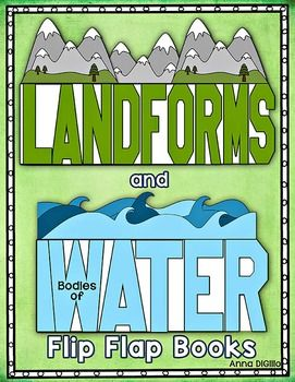 Get your students ready to try something New, Different, and FUN!These Landforms and Bodies of Water Flip-Flap Books allow your students to show their knowledge of Landforms and Bodies of Water on Earth in a Fun and Interactive way.  This unit includes:* 2 L-A-N-D-F-O-R-M-S Flip-Flap Books.(Please Note: This unit requires legal sized copy paper for a few pages 8 1/2 x 14)  The first flip-flap book has 8 different landforms inside, one on each page of the book.