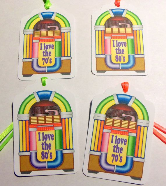 Jukebox tags 70's party theme 80's party theme by PleasinglyPaper