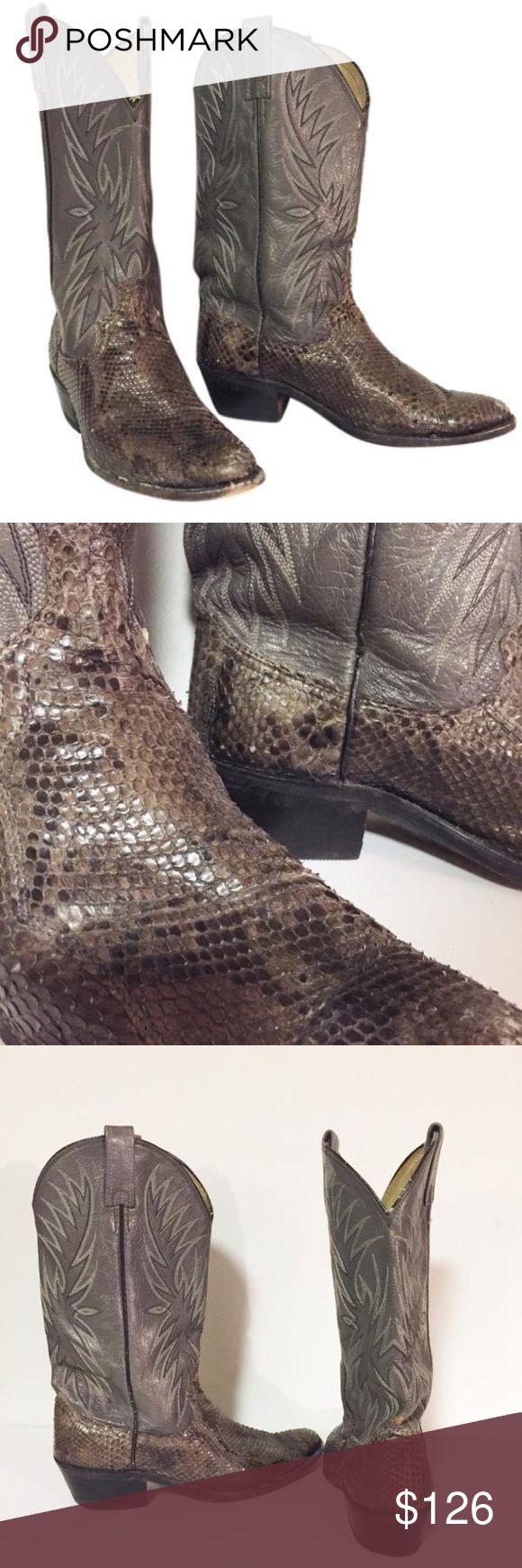 Dan Post snakeskin leather cowboy boots dan post made in USA snakeskin cowboy boots Dan Post Shoes Heeled Boots