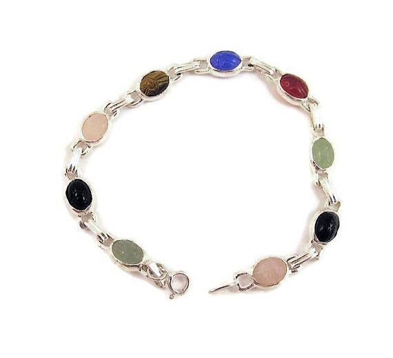 Egyptian Revival Sterling Scarab Bracelet Tiny Stones #gotvintage