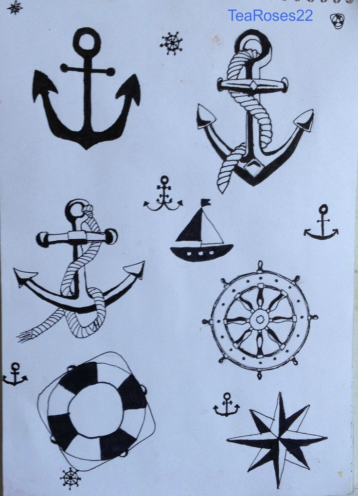 Anchor designs by me. When it's summer I often go to the port and draw something about sailing. Have a windy day! :)