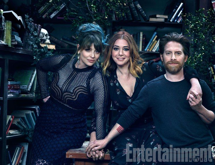 Amber Benson (Tara), Alyson Hannigan (Willow), and Seth Green (Oz)