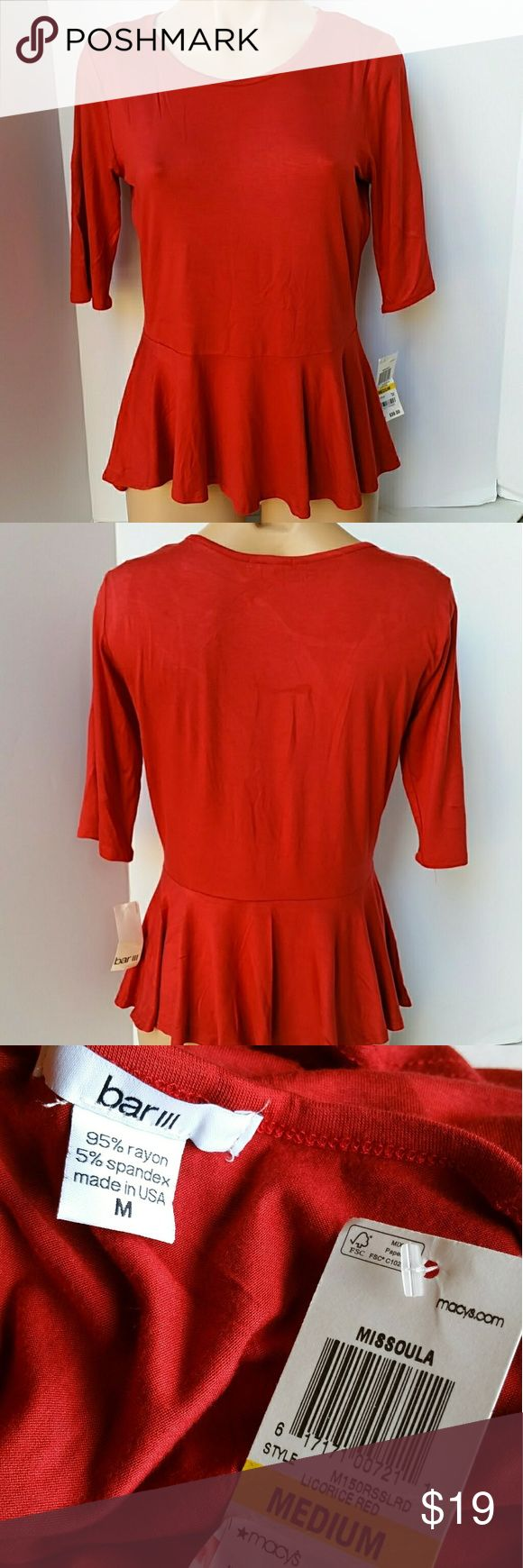 """Bar 111 Red Peplum  Top/Blouse  Sz M. Cute, red Peplum blouse. Good for summer and all seasons, goes nice with jeans, leggings, etc. Awesome 4th of July top, and fits really nice with the word """"summer"""".   📍📌📬Add my closet to your favorite for new arrivals. I add new items to my closet every day.  ❌🚫No trading. ❌🚫Lowballing ✔Offers through offer button. Bar III Tops Blouses"""