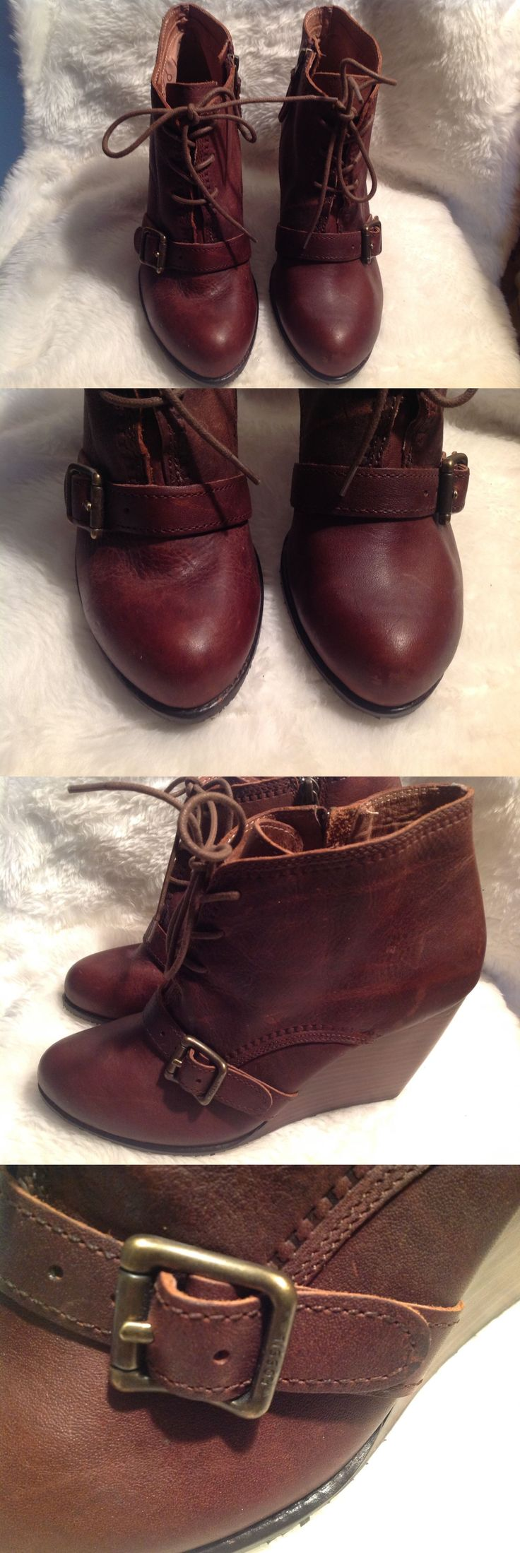 Women Shoes: New Womens Fossil Charlene Wedge Bootie Ankle Boots Brown Leather Sz 9.5 BUY IT NOW ONLY: $34.99