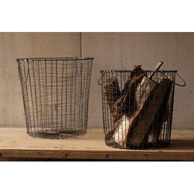 Round Vintage Utilitarian Wire Baskets (Set of 2)