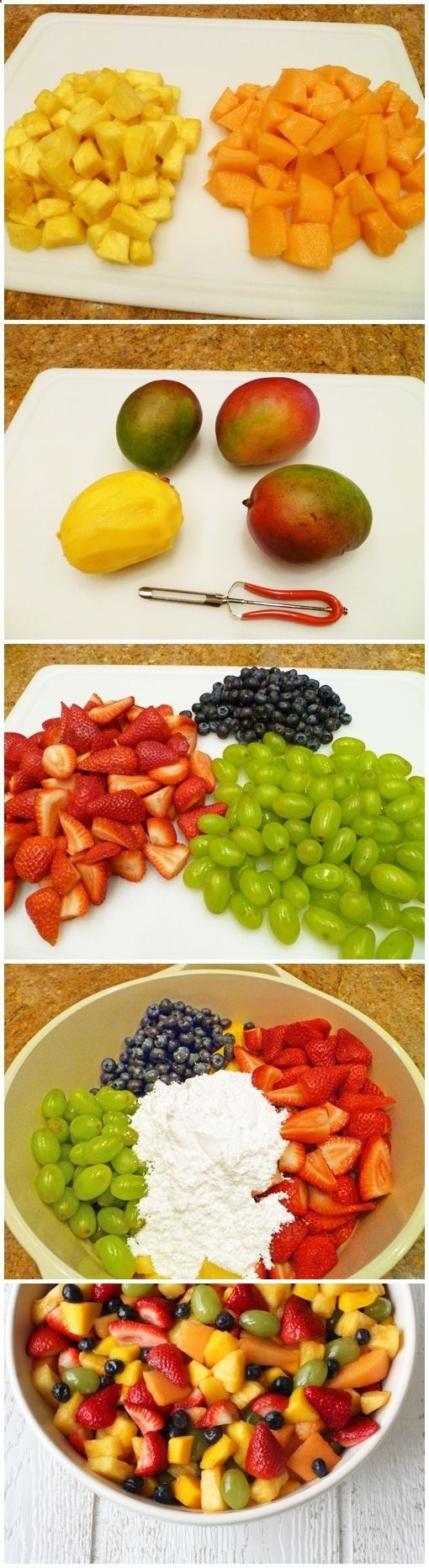 fruit salad for a crowd 1 fresh ripe pineapple 1 fresh ripe cantaloup 4 fresh ripe mangoes 2 pounds of fresh strawberries 4 cups of seedless green grapes 1 1/2 cups of fresh blueberries 3 to 5 cups powdered sugar - Adventure Ideaz