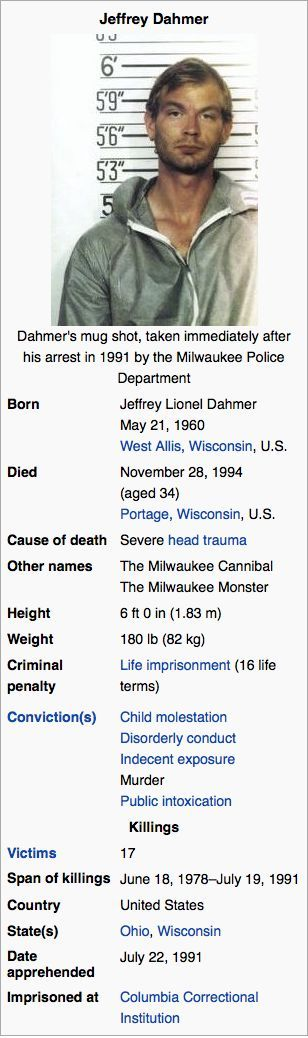 Jeffrey Dahmer. Now there's a monster if I ever saw one.