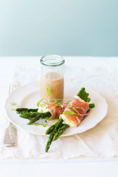 Asparagus, Mozzarella & Parma Ham Parcels with a Red Onion & Caper Dressing  |  Crush Online