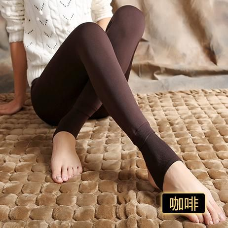 Bohocotol Elastic Plus Velvet Women's Autumn Winter High Waist Skin Color Legging Trousers