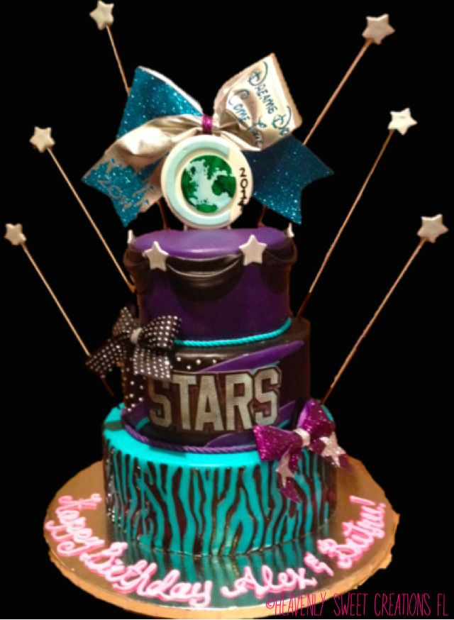 Cheerleading Birthday Cake by Ashley @ #heavenlysweetcreationsfl #cheercake