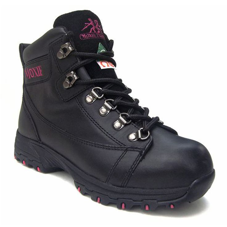 Vegas 6″ Hiker Black Safety Boot For Women  $169.99 Full-grain leather upper Aluminum toe Composite plate TPU Shank Rust proof gun metal eyelets PK abrasion resistant lining Compression molded EVA midsole Removable cushioned EVA footbed ANTI-SLIP Slip and oil resistant rubber outsole CSA approved Grade 1 Electric Shock Resistant Meets or exceeds ASTM 2413-05 requirements