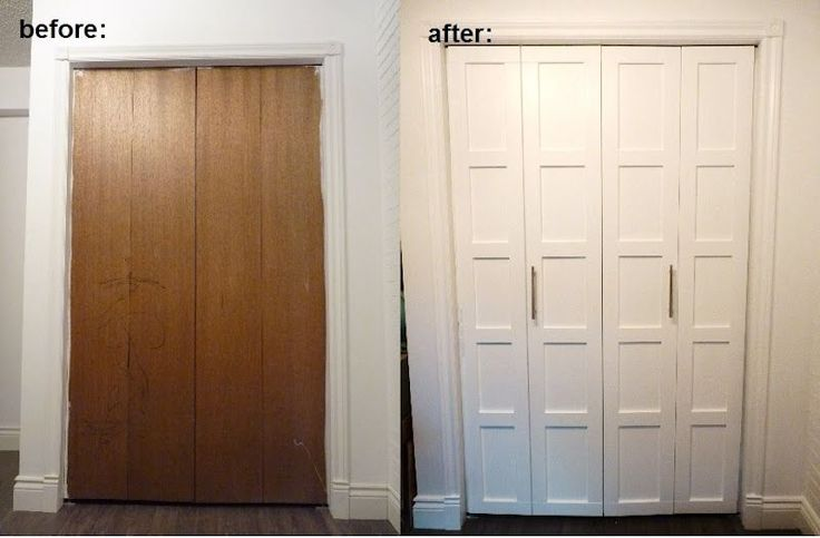 Completely transformed boring interior closet doors into something more upscale and trendy. Use trim to create the look of shaker style doors, but without the high price tag.  Paint them and add hardware.