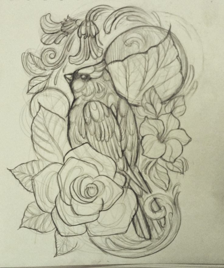 Design Draft - Cardinal tattoo. I'm removing upper left and lower right swirlies. Rounding out petals on both flowers.