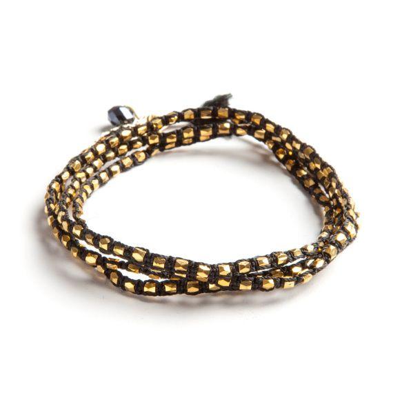 Wakami Noir: Dazzling i svart och guld. Kan användas både som halsband eller virat armband.