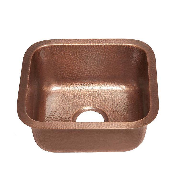 Sisley 17 Undermount Handmade Copper Sink 15 In. 0 Hole Bar Prep Sink In