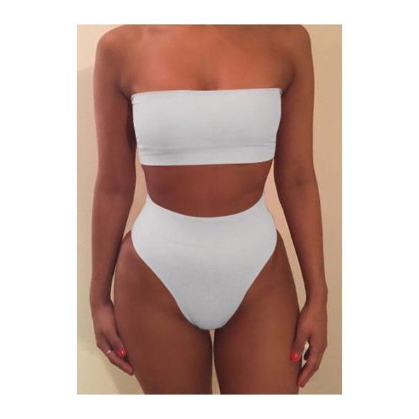 Rotita Strapless Bra and White High Waist Panty Swimwear ($15) ❤ liked on Polyvore featuring swimwear, bikinis, white, high waisted bikini, print swimwear, white bikini, white swimwear and patterned bikini