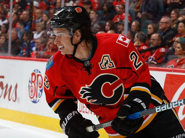 Sean Monahan of the Calgary Flames skates against the Buffalo Sabres at Scotiabank Saddledome on October 18 2016 in Calgary Alberta Canada