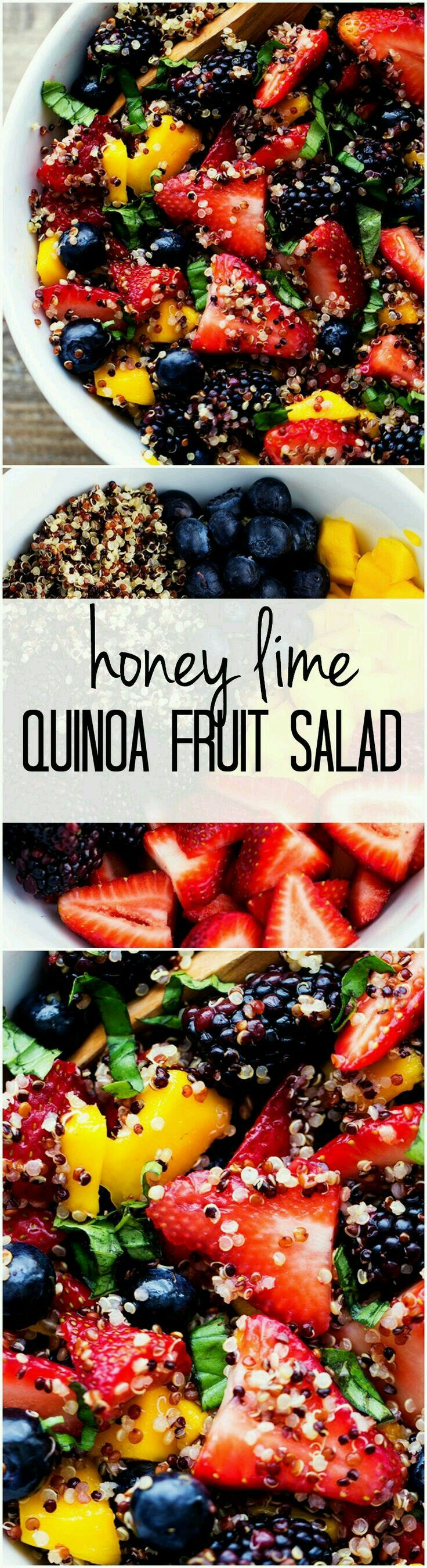 Light, Refreshing, Honey Lime Quinoa Fruit Salad - Produce 1-1/2 C. Basil 1 C. Blackberries 1 C. Blueberries 1 Mango 1-1/2 C. Strawberries Condiments 1/4 C. Honey 2 Tbsp. Lime Juice Pasta & Grains 1 C. Quinoa (tri-colored) therecipecritic.com