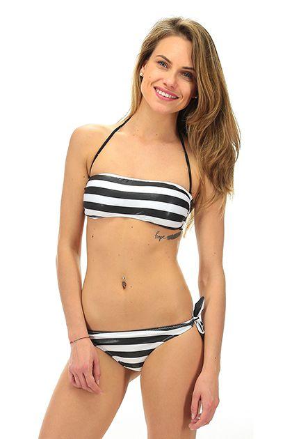4giveness - Costumi da bagno - Abbigliamento - Costume da bagno a fascia imbottito con stampa a righe e slip brasiliano. La nostra modella indossa la taglia /EU S. - RIGA NERO - € 65.00