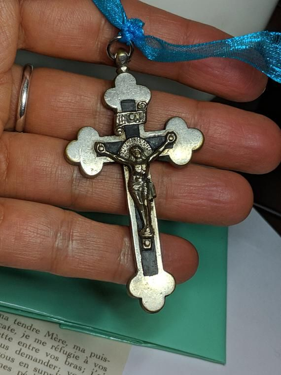 0dd140a4ce3 Large Antique Vintage Silver Tone Heavier Weight Black Inlay Pectoral Nun's  Crucifix Cross Pendant