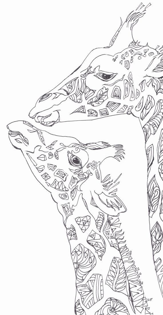 Coloring Pages Printable Adult Book Giraffe Clip Art Hand Drawn Original Zentangle Colouring Page For