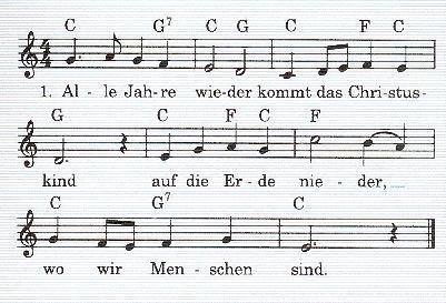 Weihnachtslieder mit Noten und Texten