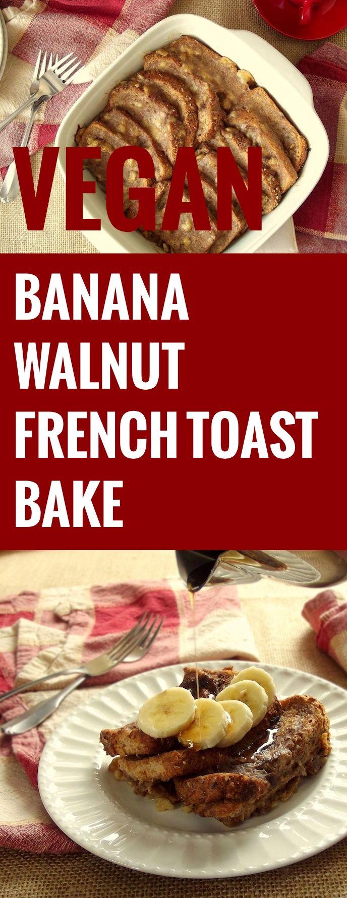 Vegan Banana Walnut Baked French Toast
