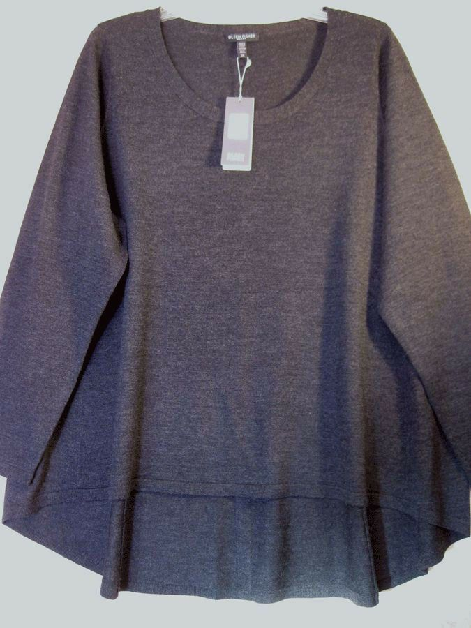 $238 BNWT NIP EILEEN FISHER Italian Merino Jersey CHARCOAL Sweater Top 1X 2X