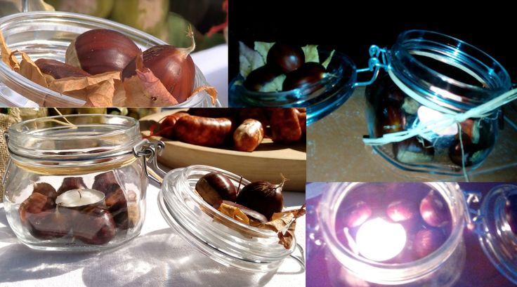 Porta candela vasetto fai da te ripieno di castagne, tipiche del periodo autunnale.