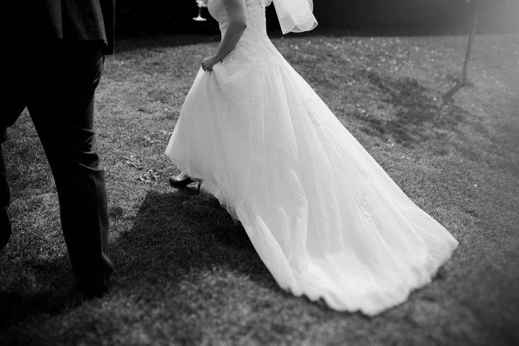 That dress! Photo by Benjamin Stuart Photography #weddingphotography #weddingdress #fullskirt #bride #weddingday #blackandwhite