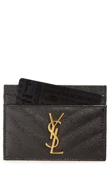 Saint Laurent Monogram Quilted Leather Credit Card Case available at #Nordstrom
