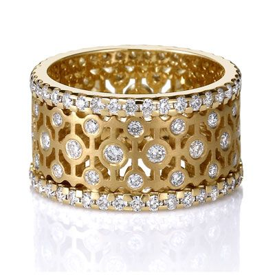 Cool Byzantine lattice wide ring from Lieberfarb with a brushed finish eternity band So gorgeous