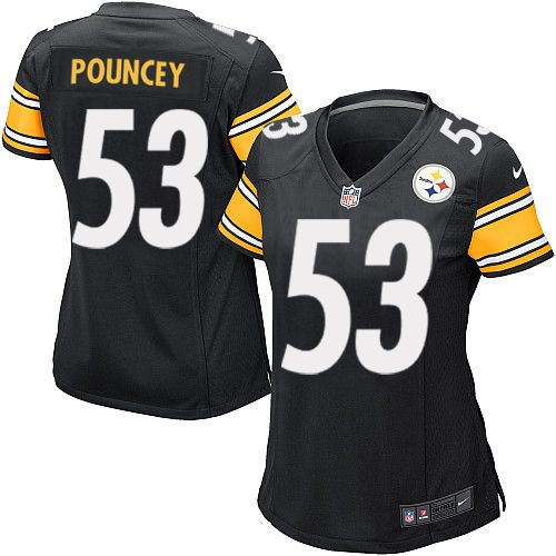 Show your support for the Pittsburgh Steelers and have a stylish look that screams, I am a die-hard fan with this Maurkice Pouncey Jersey: proName. Brought to you by Nike, this new Pittsburgh Steelers jersey boasts a streamlined fit, quality construction, silicone printed graphics and mesh side panels for breathability. You may not be an official player for the Pittsburgh Steelers , but when you wear this jersey, you just may be mistaken for one!$69.99