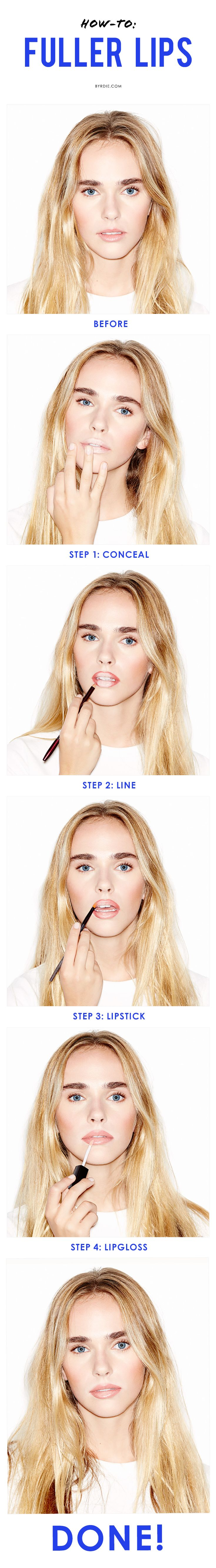 4 easy steps and 4 products to turn thin lips into a plump, pillowy pout (via @byrdiebeauty)