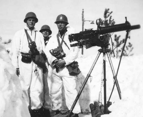 Norwegian soldiers with a heavy machine gun near the town of Elverum. c. April, 1940.