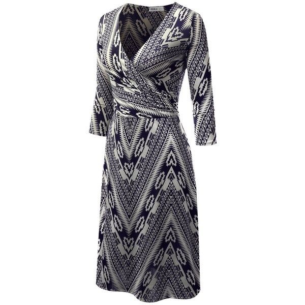 Doublju Solid Printed Surplice A-Line Wrap Dress For Women With Plus... ($13) ❤ liked on Polyvore featuring dresses, blue dress, women plus size dresses, plus size a line dresses, blue a line dress and wrap dress