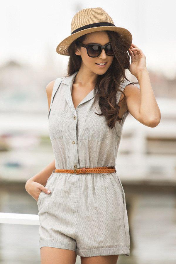 Tegan Seersucker Stripe Romper -- cute and casual for summer