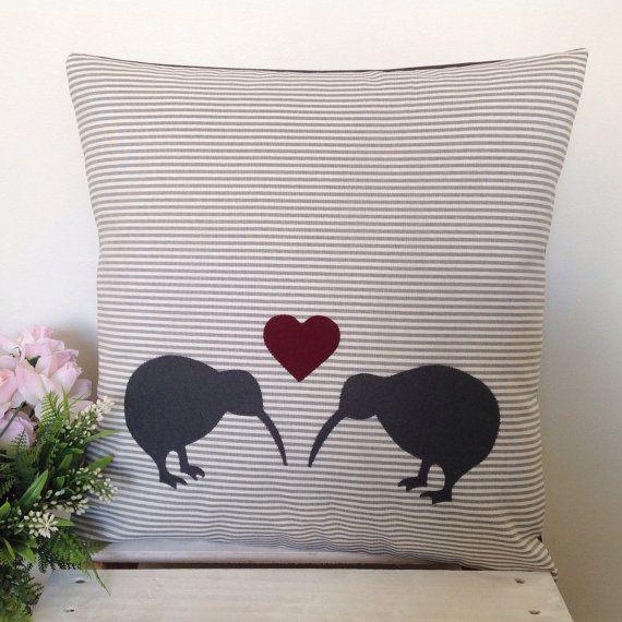 Cushion Cover Grey Stripe Fabric Kissing by natandalicreative