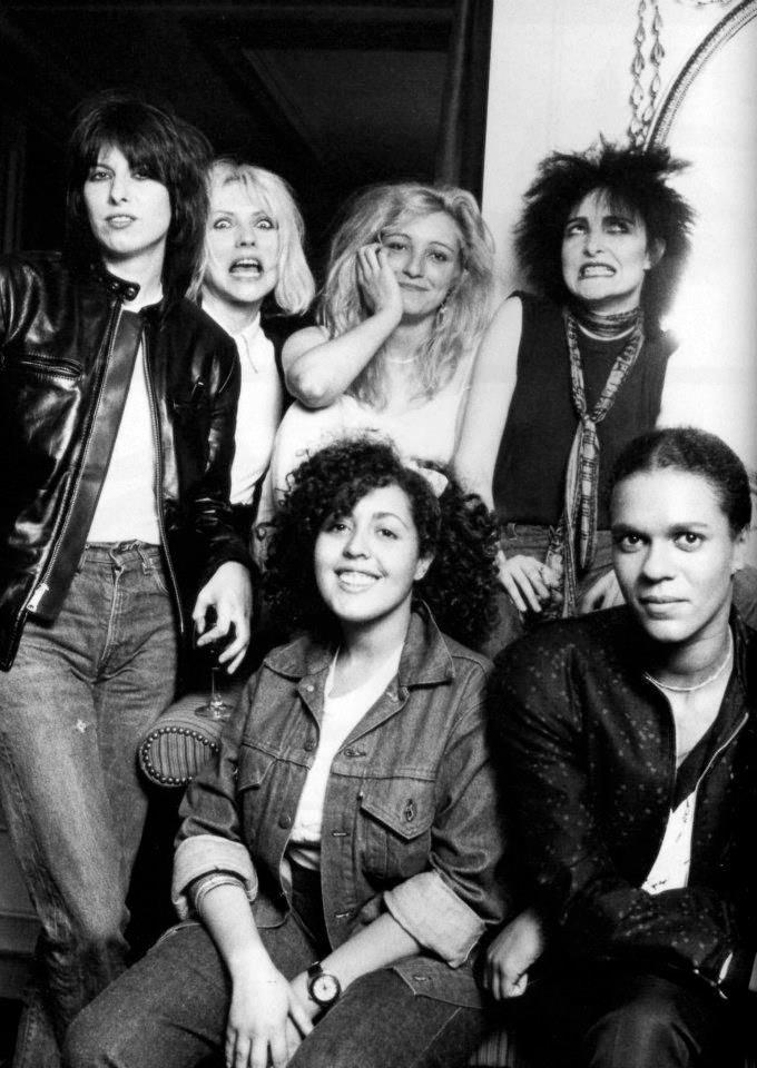 From the left: Chrissie Hynde (The Pretenders), Deborah Harry (Blondie), Viv Albertine (The Slits), Siouxsie Sioux (Siouxsie & the Banshees), front: Poly Styrene (X-Ray Spex), Pauline Black (The Selector). By Michael Putland for the New Musical News in 1980.