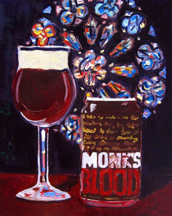 Beer Oil Painting of Monk's Blood Belgian-Style Ale by 21st Amendment Brewery - Year of Beer 06/07