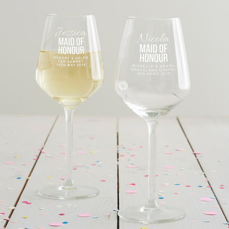 Personalised Maid Of Honour Wine Glass £22. This maid of honour wine glass is the perfect way to say 'thank you' on your big day! #maidofhonour #wine #weddinggift