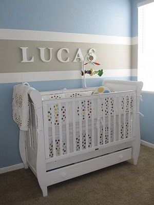 Striped Nursery Wall with name