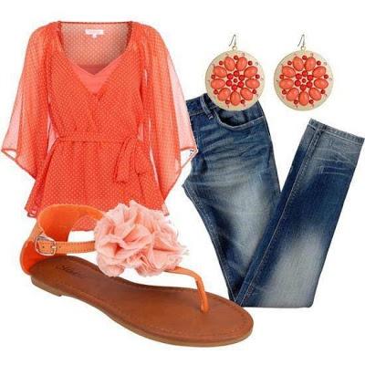 Orange shirt, denim jeans and cute shoes!