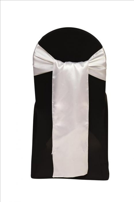 "Satin Sash White. Satin 8"" x 108"""