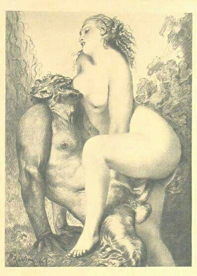 Nymph and satyr enjoying the union: