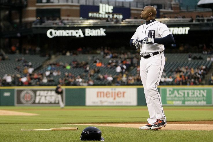 Detroit Tigers left fielder Justin Upton (8) reacts after striking out in the first inning of their AL Central game against the Cleveland Indians at Comerica Park in Detroit, on Tuesday, May 2, 2017. (Mike Mulholland | MLive.com)